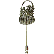 Vintage Hand & Hammer Silversmiths Sterling Silver Flower Basket Stick Pin