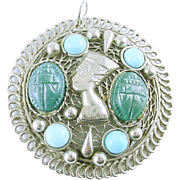 Egyptian Revival Large Pendant with Scarabs and Turquoise Blue Cabs