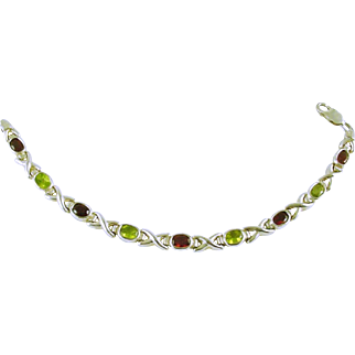 Sterling Silver (925) Link Bracelet with Amethyst, Peridot, and Garnet Stones