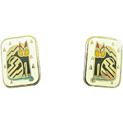 "Laurel Burch ""Fantasticat"" Post Earrings Cats Retired Style"
