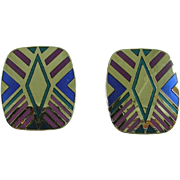 "Signed Laurel Burch ""Quintessence"" Post Silvertone Earrings"