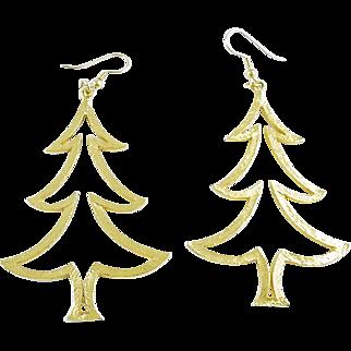 Signed Mylu Large Christmas Tree Dangle Earrings Goldtone