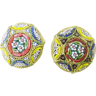 Vintage Micro Mosaic Clip Earrings Italy
