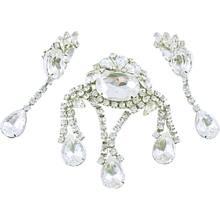 Dazzling Clear Rhinestone Set of Brooch / Pin and Clip Earrings