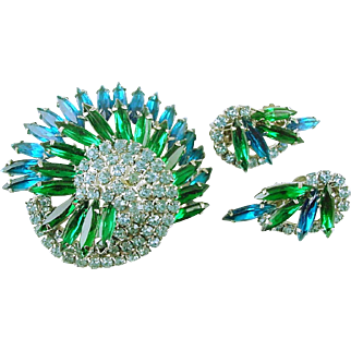 Gorgeous Rhinestone Pin / Brooch and Clip Earrings Sparkling Blues and Greens