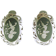 Vintage Sterling Silver SIAM Clip Earrings with Dancer Design Thailand 1930's