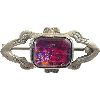 Vintage Sterling Silver and Fire Opal Brooch / Pin