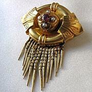 14k Gold Victorian Locket Brooch with Bearded Fringe, Etruscan