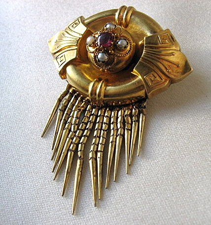 14k Gold Victorian Locket Brooch with Bearded Fringe, Etruscan