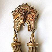 Large and impressive Victorian tassel Pendant or Brooch, 14K Enamel Pearl!