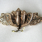 Victorian 10k Gold Enamelled Dove of Peace Brooch Pendant with Mechanism, 1872