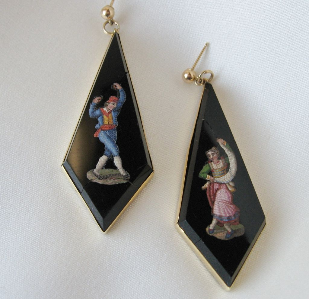 Exquisite Early Italian Micro Mosaic Large Earrings Dancers!