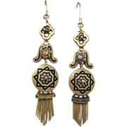 Victorian Gold and Enamel Fringe Earrings with pearls, 16K