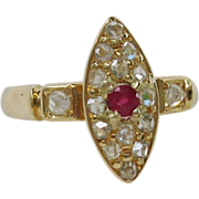 Small and Bright Antique18k Rose Diamond and ruby Ring