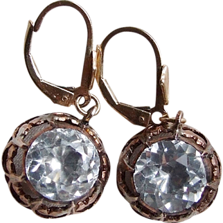 Very Large Georgian Foiled Paste Earrings, Gold on Silver