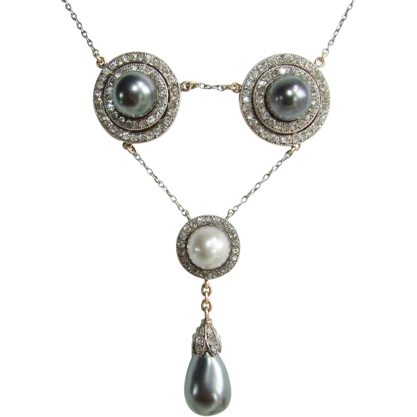Stunning Antique Belle Epoque Paste and Faux Pearl Necklace Silver and 14k Gold!