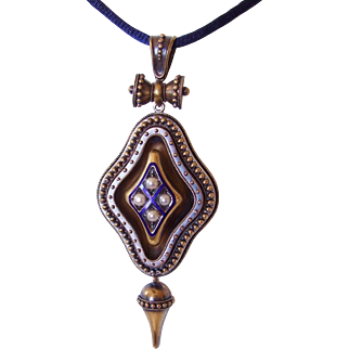 Large Victorian Etruscan Revival Locket Blue Enamel Pearls, 14-15K Gold