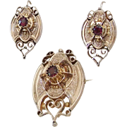 Beautiful gold filled Victorian Earrings and brooch Demi Parure in Mint Condition!