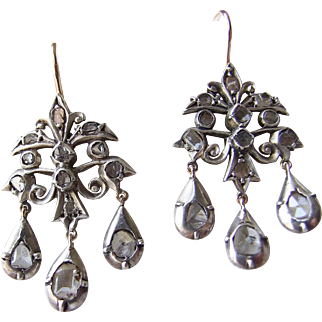 Rose cut and table cut Diamond girandole Earrings Silver Topped Gold georgian Revival