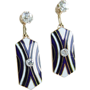 Fabulous 18k Antique Earring Jackets Enamel and Diamonds plus Mine Cut Diamond Studs!