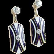 Fabulous 18k Antique Earring Jackets Enamel and Diamonds plus Mine Cut Diamond Studs!