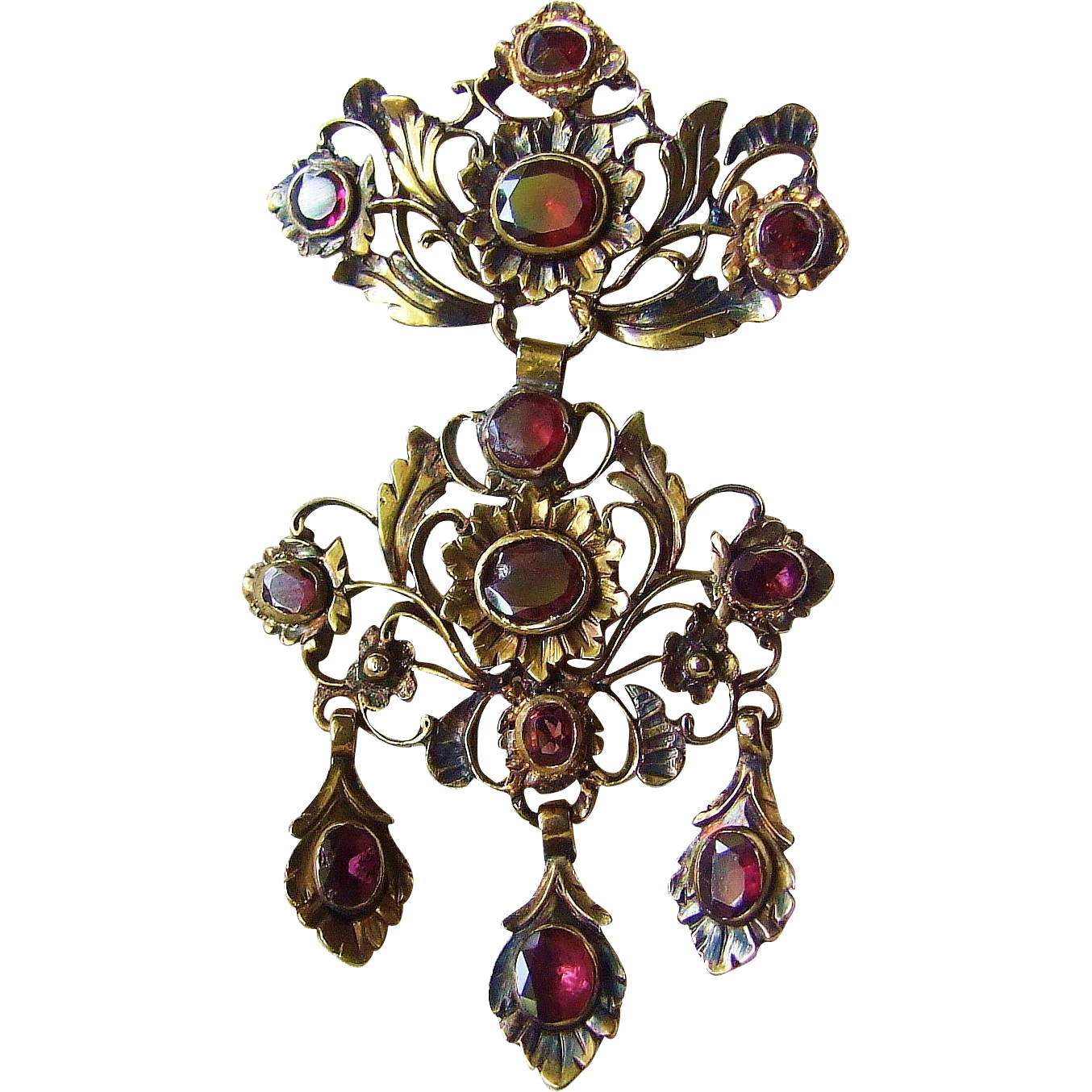 Fabulous 18th century Georgian Period Gold Garnet Girandole Pendant, circa 1780