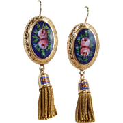 Stunning Large Blue and Floral Enamel Victorian Tassel Fringe Earrings 14k Gold!