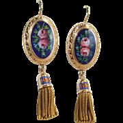 Stunning Large Blue and Floral Enamel Victorian Tassel Fringe Earrings 14k Gold!