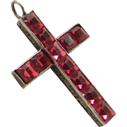 Antique Fuchsia Pink Paste Cross Sterling Silver