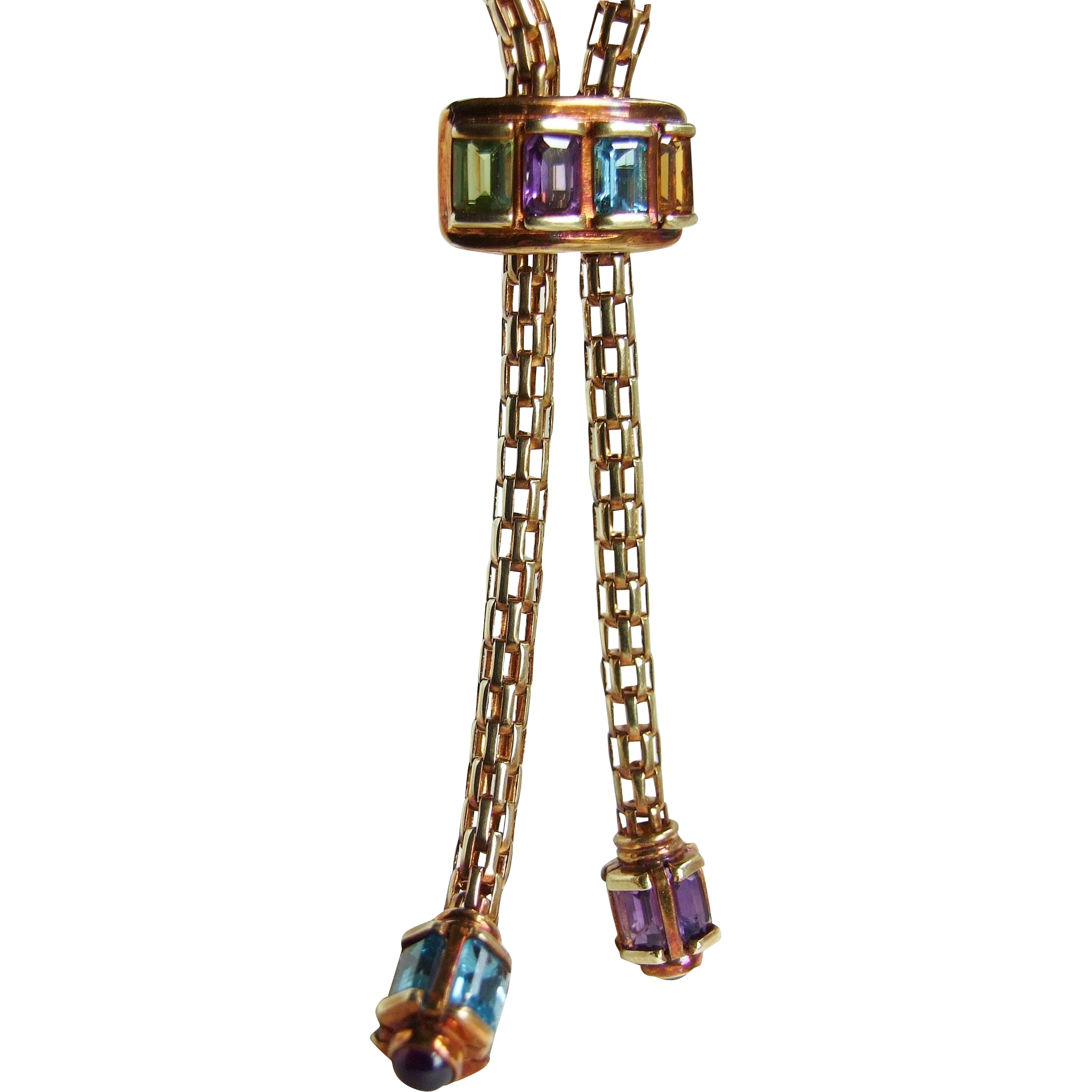 Vintage Revival 14K Gold Tubular Mesh Slide Bolo Chain Rainbow Gems, so Cool!