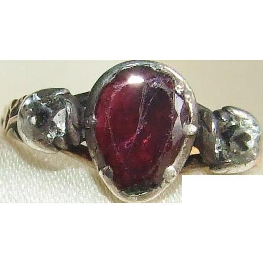 18th Century Georgian Garnet and Paste Heart Ring Betrothal