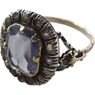 Late Georgian Voilet Blue Cushion Cut Sapphire and Diamond Ring Anchor and Shell Spectacular Setting Appraisal!