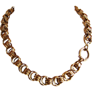 Bold 18k Victorian Collar Necklace, Deep Gold Color!