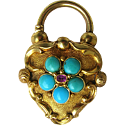 Indulgent Large Victorian Turquoise 15K Gold Padlock Pendant, Opens!