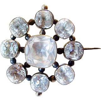 Large Foiled Paste Early Victorian Target Brooch Gilded Silver