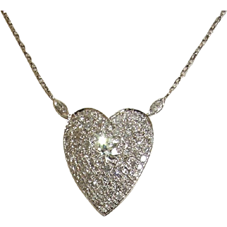 Exceptional Very Vintage Pave Diamond Heart Necklace, 1.5 carats!