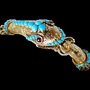 Incredible Victorian Turquoise Snake Bracelet 18K Gold!