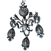 Scarce Large 18th Century Georgian Girandole Pendant Crystal backed Rose Cut Diamonds, Silver