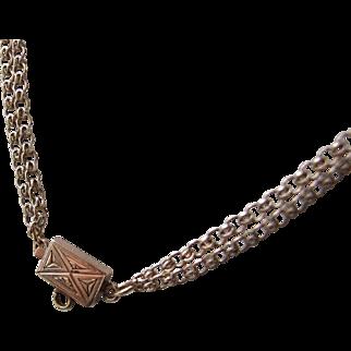 Beautiful Victorian Civil War era 12k Gold Double Chain Collar Necklace, Box Clasp