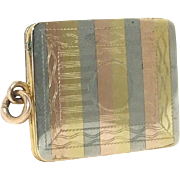 Edwardian Tri Color Gold Striped Rectangular Watch Fob Locket