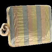 Edwardian Tri Color Gold Striped Rectangular Watch Fob Locket