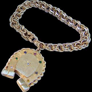Heavy 14K Gold Victorian Revival DEAREST Lucky Horseshoe Locket Charm Bracelet!