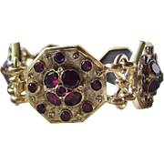Superb Large Victorian Gold Filled Garnet paste Bracelet
