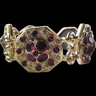 Superb Large Victorian Gold Filled Garnet paste Bracelet