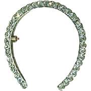 Big Super Sparkly Paste Horseshoe Brooch Circa 1900, 10k and Silver