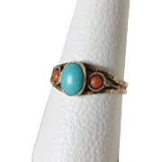 Victorian Gilded Coral Turquoise Ring