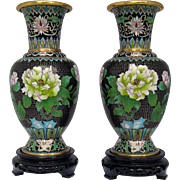Black Chinese Cloisonné Vases - Matched Pair
