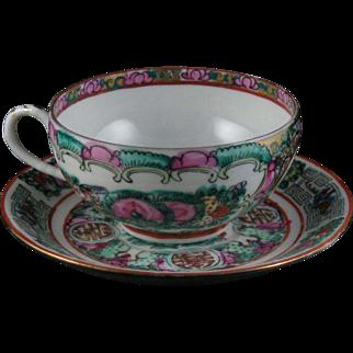 Vintage Chinese Rose Medallion Tea Cup & Saucer