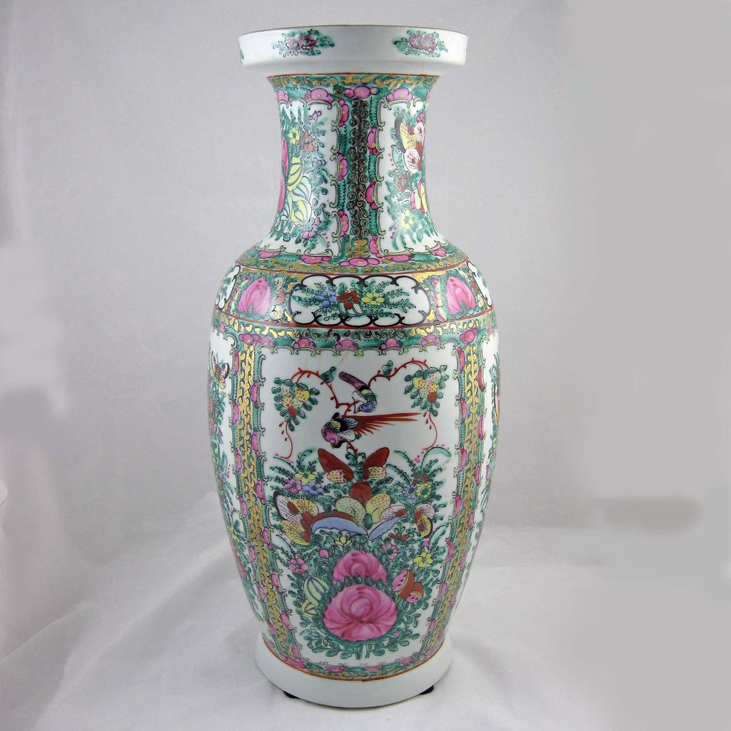 vintage chinese rose canton vase from jelitaarts on ruby lane. Black Bedroom Furniture Sets. Home Design Ideas