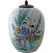Vintage Chinese Porcelain vase with wooden lid - Melon Jar design.